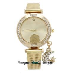 Жіночий золотий годинник Роза стрази