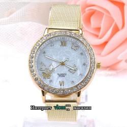 Жіночий золотий годинник з метеликами