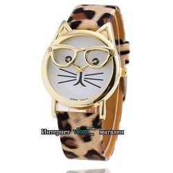 Годинник кіт в окулярах