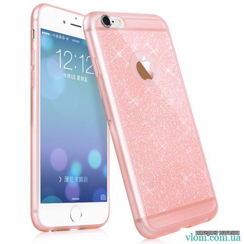 Чохол рожевий з блисками на Iphone 6 plus