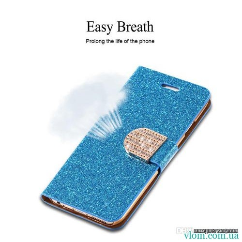 Чохол книжка синій зі стразами на Iphone 6/6s