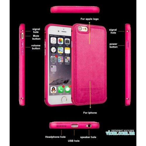 Чохол рожевий бампер зі шкірою на Iphone 5/5s