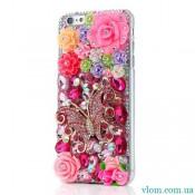 Чохол об'ємні квіти на Iphone 6 plus