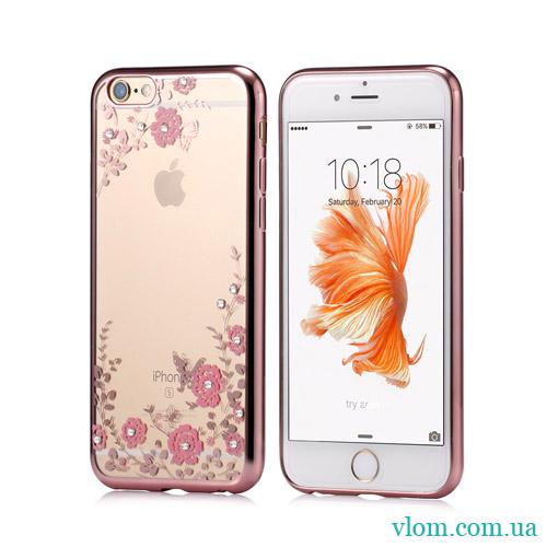 Чохол рожевий зі стразами на Iphone 7/8 PLUS
