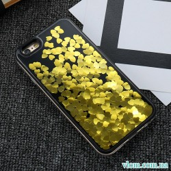 Чохол золоті Серця рідина на Iphone 6/6s plus