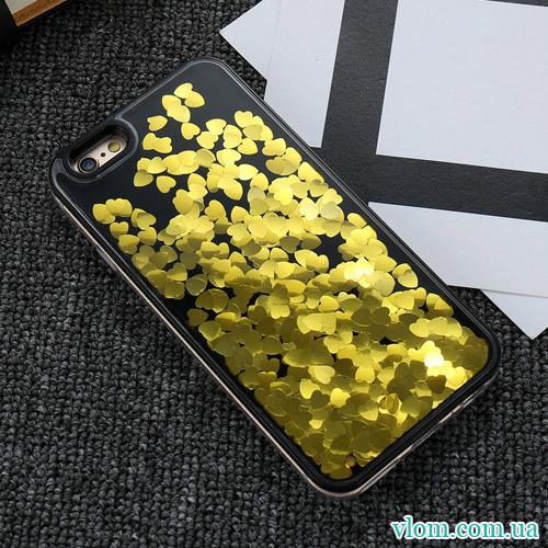 Чохол рідина сердечка на Iphone 7/8 plus