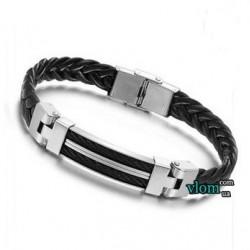 Чоловічий чорно-металевий браслет