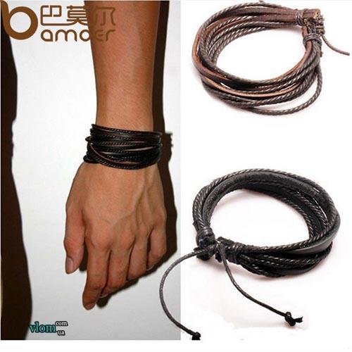 Чоловічий браслет шкіряний плетений